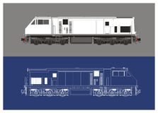 Locomotive technical drawing illustration Royalty Free Stock Photography