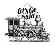 Locomotive tirée par la main de vintage, train de vapeur, transport Illustration ferroviaire de vecteur de moteur, croquis Image stock