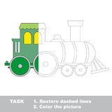 Locomotive to be colored. Vector trace game. Royalty Free Stock Image