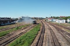 Locomotive on the tracks. Royalty Free Stock Images