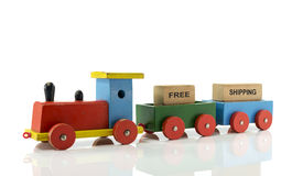 Locomotive train with free shipping blocks Royalty Free Stock Photo