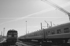 Locomotive train on rails. Locomotive train on the rails Stock Photo