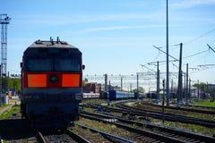 Locomotive train on rails. Locomotive train on the rails Royalty Free Stock Photo