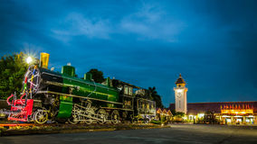 Locomotive and train station Royalty Free Stock Image
