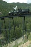 Locomotive on Trestle Bridge Stock Photo