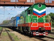 Locomotive under bridge. Royalty Free Stock Photo