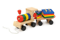 Locomotive à vapeur en bois des enfants un jouet Photo stock