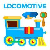 Locomotive Vector. Children Toy. Train Road Railway. Isolated Cartoon Illustration vector illustration