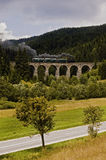 Locomotive on a viaduct Stock Images