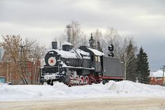 Locomotive in the village of Ibres stock photo