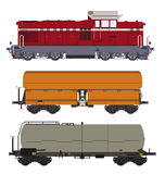 Locomotive and wagons Royalty Free Stock Images