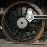 Locomotive wheel. Detailed view of a wheel of the historic locomotive Stock Photo