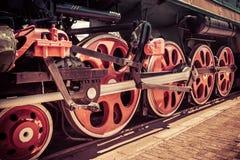 Locomotive wheel. Retro red locomotive wheel close-up Royalty Free Stock Image