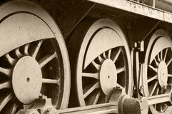 Locomotive wheels Stock Images