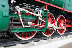 Locomotive wheels closeup Stock Photo