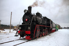 Locomotive in winter Royalty Free Stock Photos