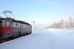Locomotive in winter Stock Photos