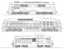 Locomotives dessinant sur le fond blanc Images stock