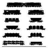Locomotives with different wagons Royalty Free Stock Photography
