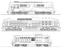 Locomotives drawing on white background Stock Images