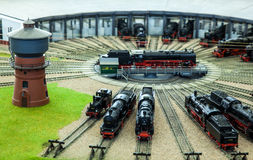 Locomotives Garage station. Miniature locomotives and train station Royalty Free Stock Photography