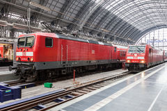 Locomotives inside of the train station in Frankfurt Royalty Free Stock Photo