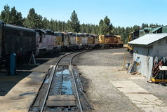 Locomotives lined up. Vintage locomotives, Western Pacific Railroad Museum at Portola, California Royalty Free Stock Photo