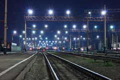 Locomotives in the night Stock Photo