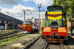 Locomotives on the railway in the Roundhouse of Yelets, Russia Royalty Free Stock Photography