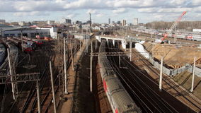 Locomotives and trains at the railway junction. In moscow stock video footage