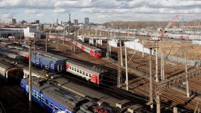 Locomotives and trains at the railway junction. In moscow stock video