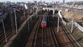 Locomotives and trains at the railway junction. Moscow stock footage