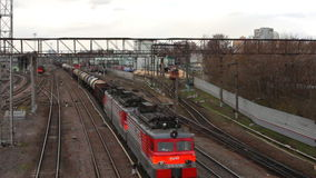 Locomotives and trains at the railway junction. Moscow stock video footage
