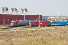 Locomotives trains are working at the locomotive depot Royalty Free Stock Images