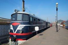 Locomotora ТE7-013 en el museo del ferrocarril de Oktyabrskaya Imagen de archivo libre de regalías