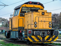 Locomotora amarilla Foto de archivo libre de regalías