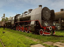 Locomotora de vapor con los desperdicios 2 Foto de archivo libre de regalías