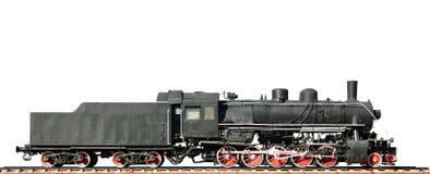 Locomotora de vapor en el fondo blanco Imagenes de archivo