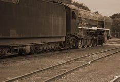 Locomotora de vapor en sepia Fotos de archivo libres de regalías