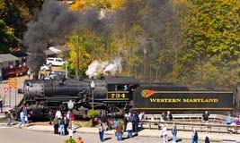 Locomotora de vapor pasada de moda en Maryland rural Fotos de archivo libres de regalías