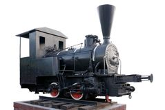 Locomotora de vapor vieja aislada Fotos de archivo libres de regalías