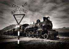 Locomotora de vapor vieja de la moda en blanco y negro imagen de archivo libre de regalías