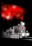 Locomotora del vector con el soldado y la estrella roja Ejemplo comunista Foto de archivo