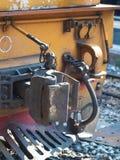 Locomotora diesel vieja con el coupleer del coche Imágenes de archivo libres de regalías