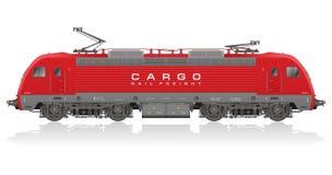 Locomotora eléctrica moderna roja stock de ilustración