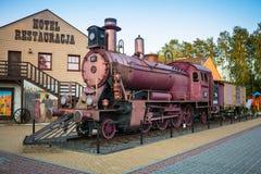 Locomotora en el hotel occidental cerca de Bydgoszcz Foto de archivo