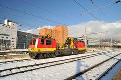 Locomotora específica para el mantenimiento ferroviario Imagen de archivo libre de regalías