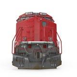 Locomotora moderna en blanco Front View 3D ejemplo, trayectoria de recortes Fotos de archivo libres de regalías
