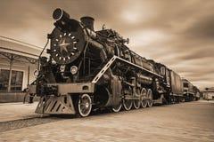 Locomotora negra antigua Imagen de archivo libre de regalías