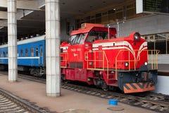 Locomotora roja Fotos de archivo